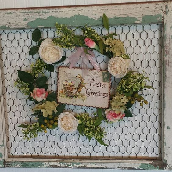Chippy Shabby Farmhouse chicken wire frame with Easter wreath