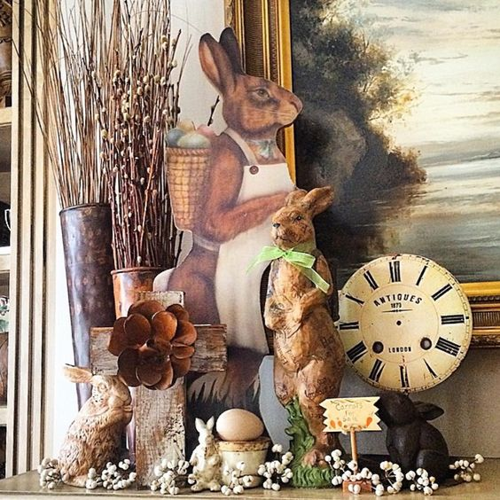Beautiful vintage collection of bunnies Easter vignettte vintage clock face