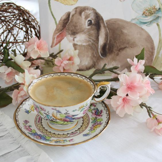 Adorable easter vignette with pretty vintage teacup