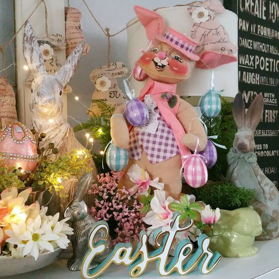 How to style a vintage Easter vignette Ideas with bunnies and blooms Vintage Anna Lee