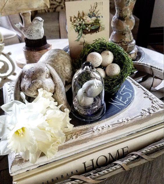 Pretty Easter Vignette Cottage style vintage postcards vintage spring vignette easter bunny birds and spring cloche display tobacco basket