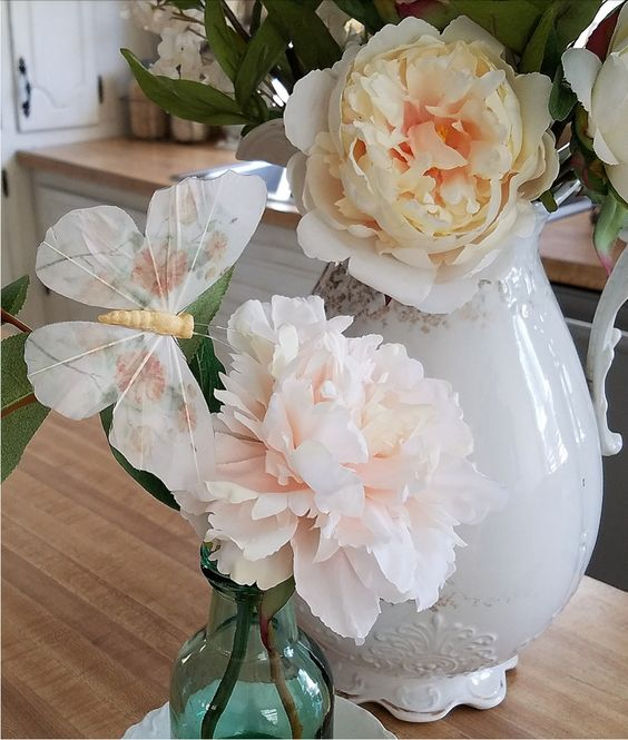 Gorgeous faux peonies and shabby chic accessories