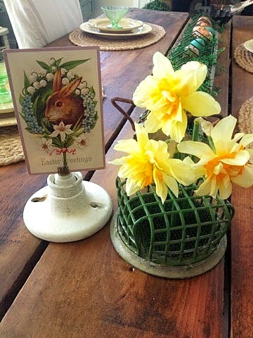 Farmhouse Easter Decorations flower frogs galvanized chick feeder vintage junk