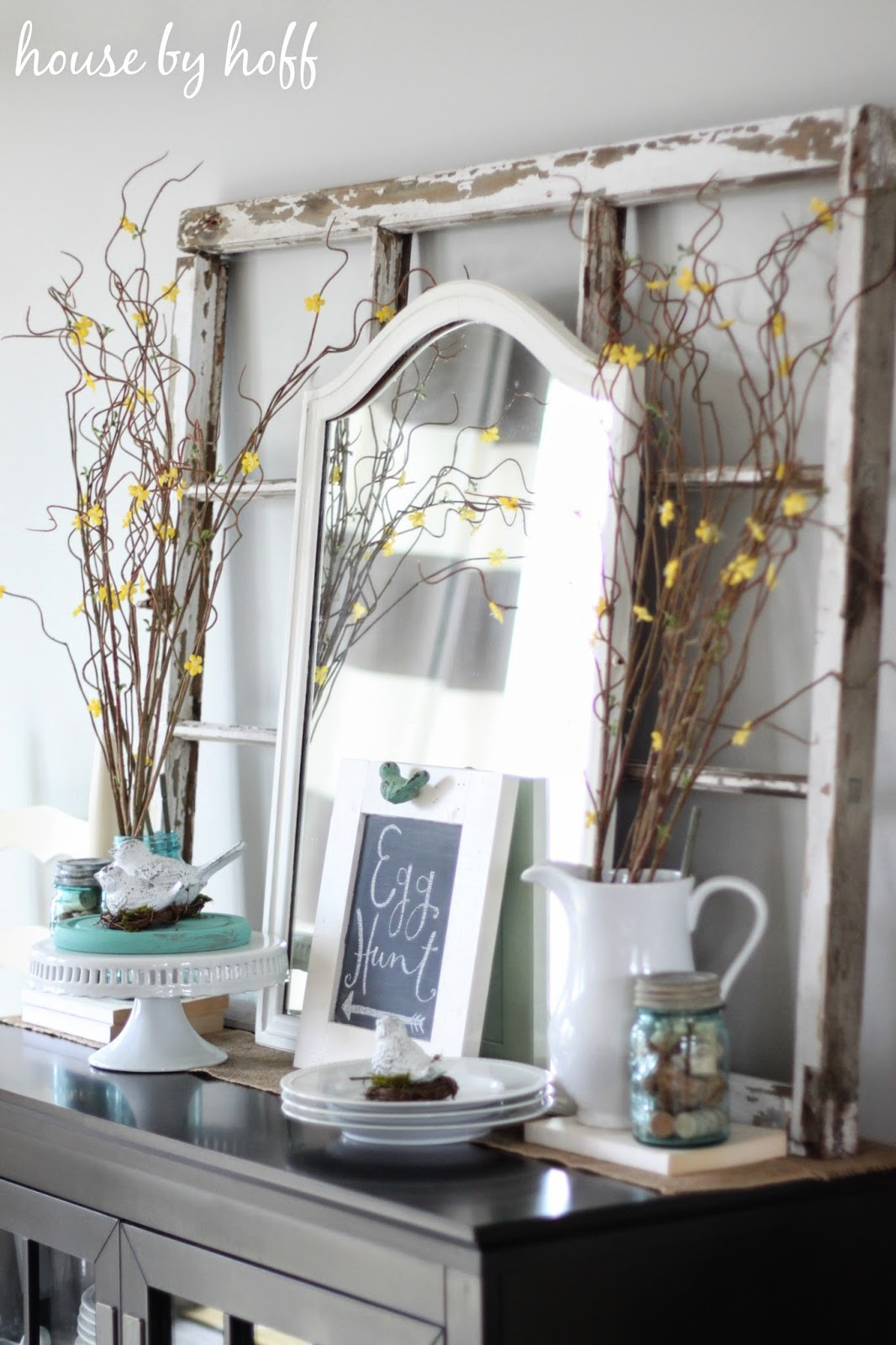 Pretty shabby buffet decorated for Easter Chippy window frame