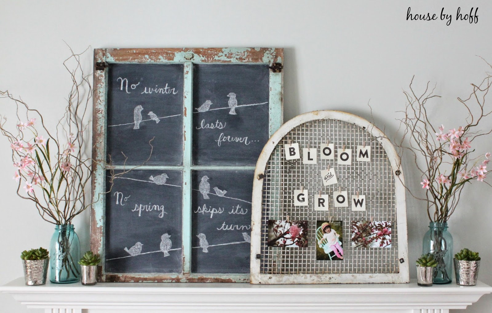 Adorable Shabby Farmhouse Spring Vignette with chippy chalkboard