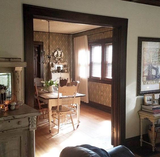 French Country Farmhouse Style dining room with vintage wallpaper