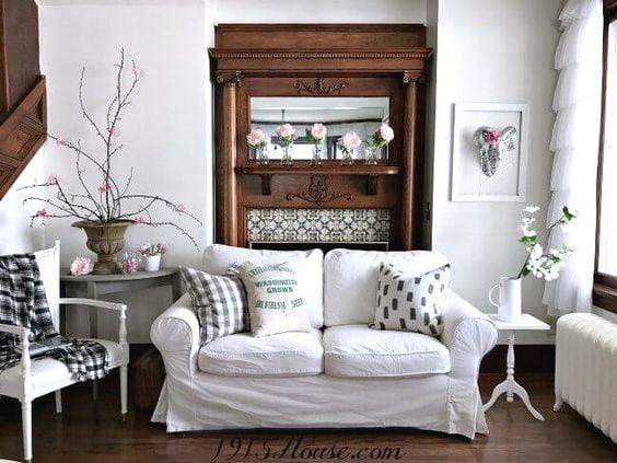 1915 house antique mantel fireplace original woodwork rustic glam cottage style vintage