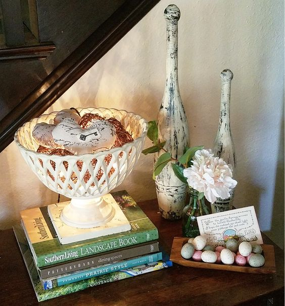 Quick and Easy Easter vignette on side table using vintage Easter postcard