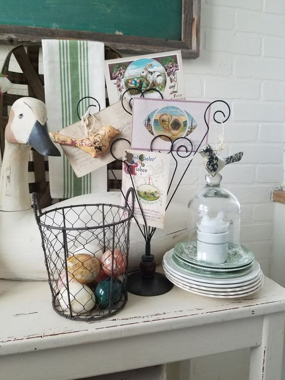 Modern Farmhouse Kitchen Easter decor wire basket cloche large goose