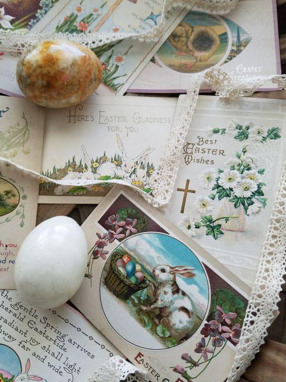 Vintage Easter ephermera vintage postcards lace