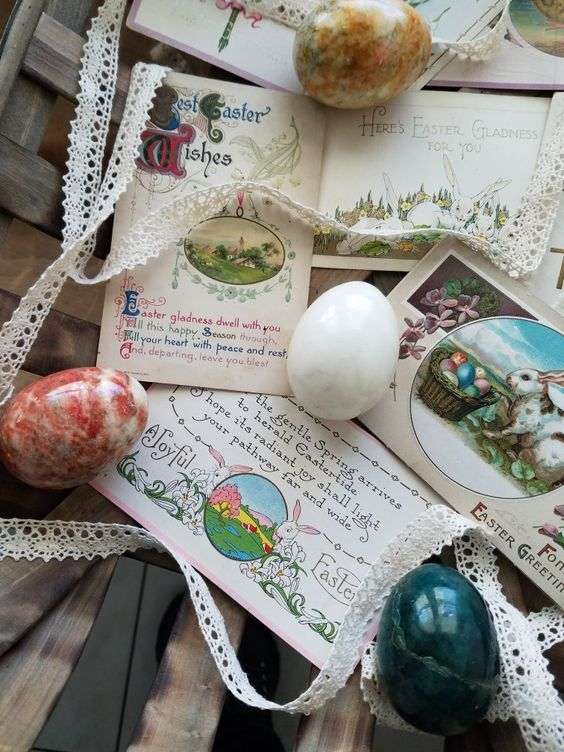 Gorgeous Easter Postcard collection with vintage marble eggs