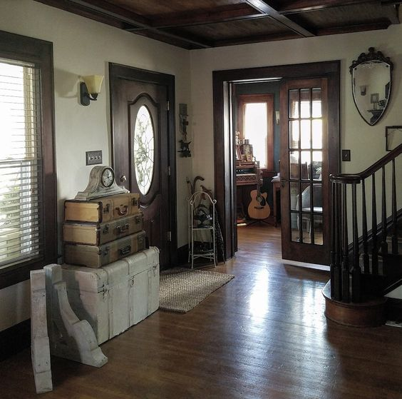 french doors wood ceiling corbels music room guitar