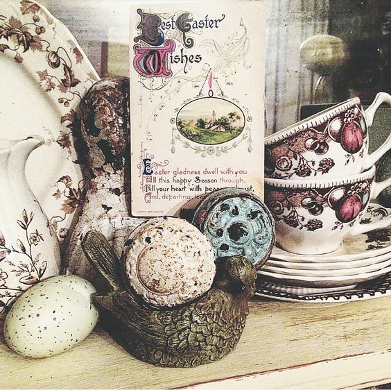 Easter decorating ideas using vintage postcards and transferware dishes