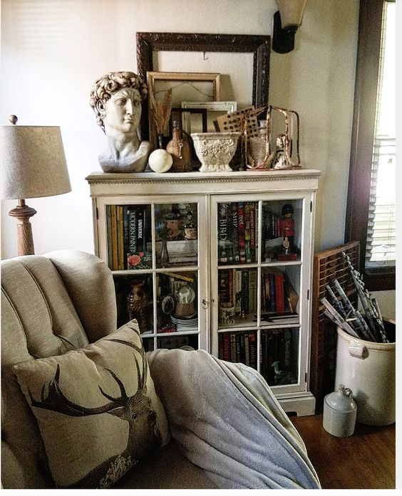 Neutral living room vintage bookcase