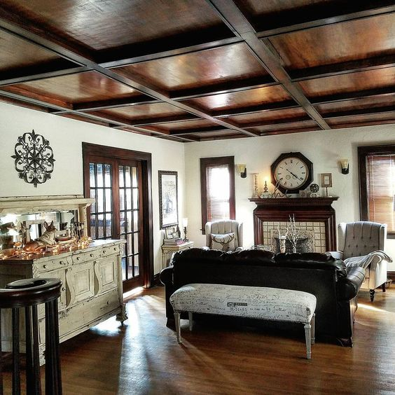 Follow The Yellow Brick Home original unpainted woodwork stained woodwork dark trim coffered ceiling cottage style