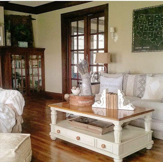 brickfarmhouse1919 Farmhouse Style stained woodwork stain trim unpainted woodwork unpainted trim