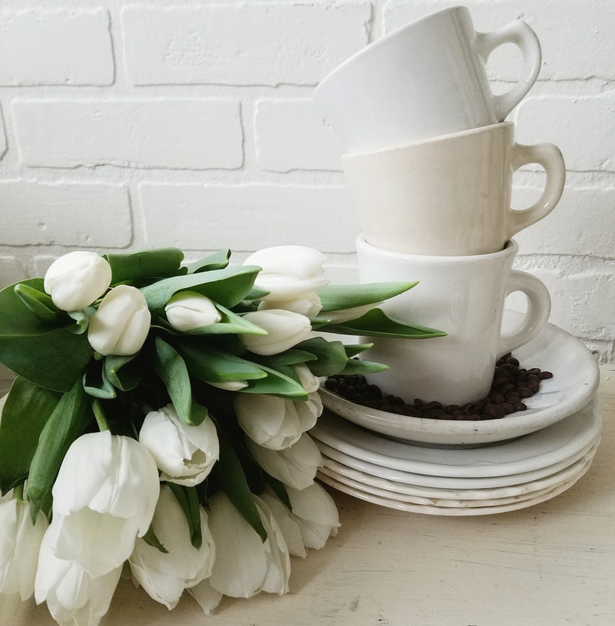 Farmhouse kitchen with ironstone and tulips