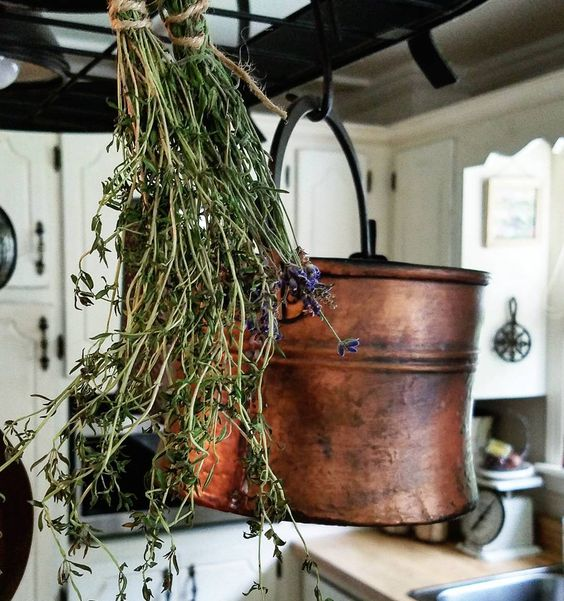 French Country Kitchen Copper and Dried Herb bundles