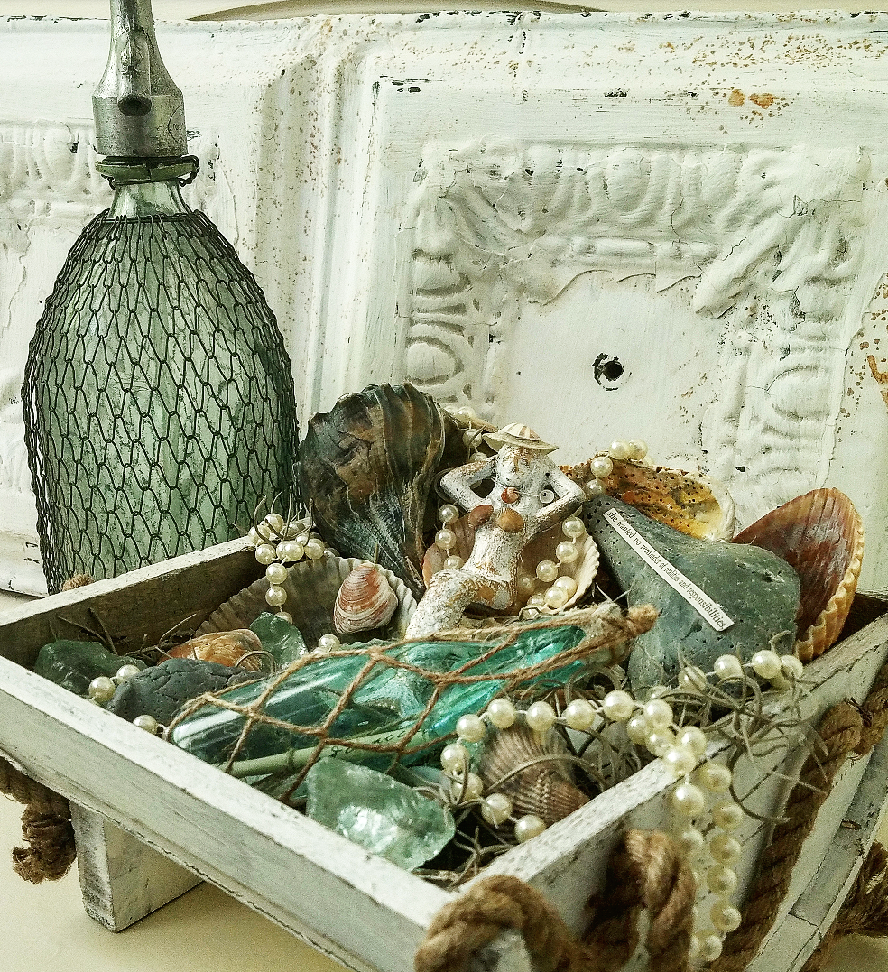 Beautiful brocante shabby chic coastal decor vintage beach themed decor mermaid seashells