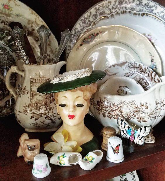 Beautiful collection of vintage treasures small curio cabinet farmhouse transferware vase head lady