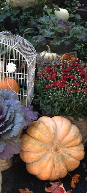 Gorgeous fall garden display, moody fall gardens moody fall colors autumn kale musquee de provence