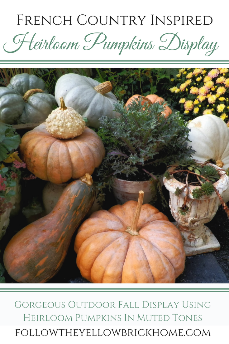 French Country Heirloom Pumpkins Display