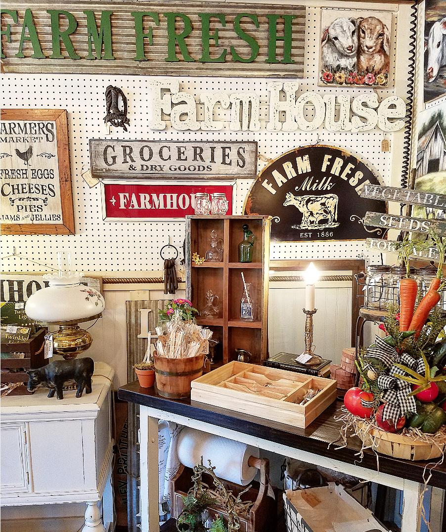 Adorable farmhouse style booth display farmhouse decor