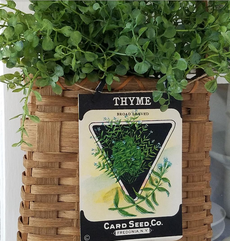 Farmhouse Style Herb Basket Vintage Seed Packet Vintage Thyme seed packet