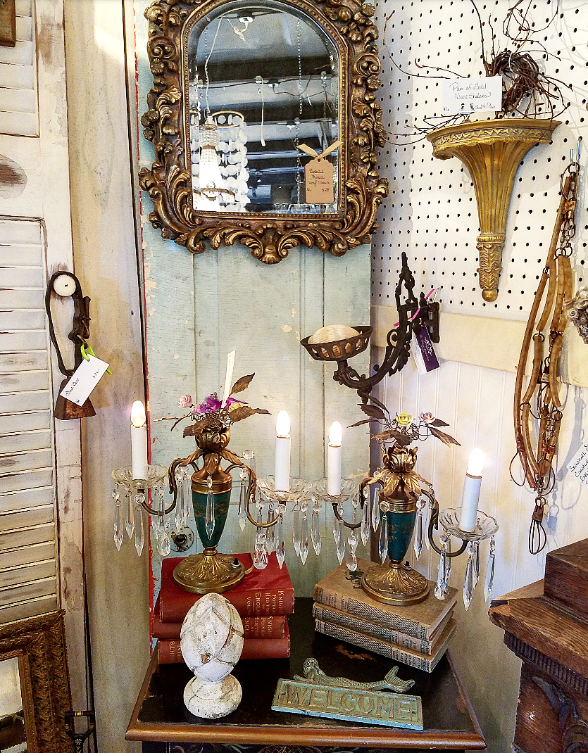 Gorgeous french mirrors antiques booth display french lighting