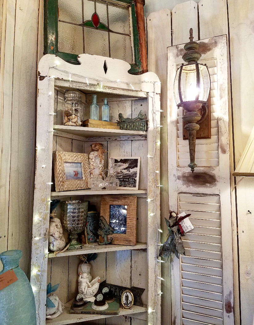 Chippy corner cabinet full of treasures vintage booth display ideas transom window