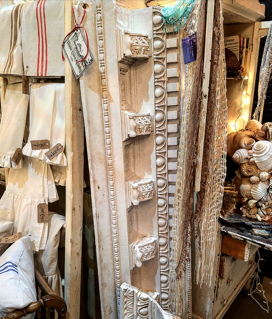 Gorgeous architectural salvage crown molding french grain sack towels