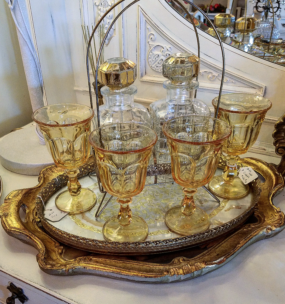 amber glass thumbprint goblets gilded tray mirror tray tray displays