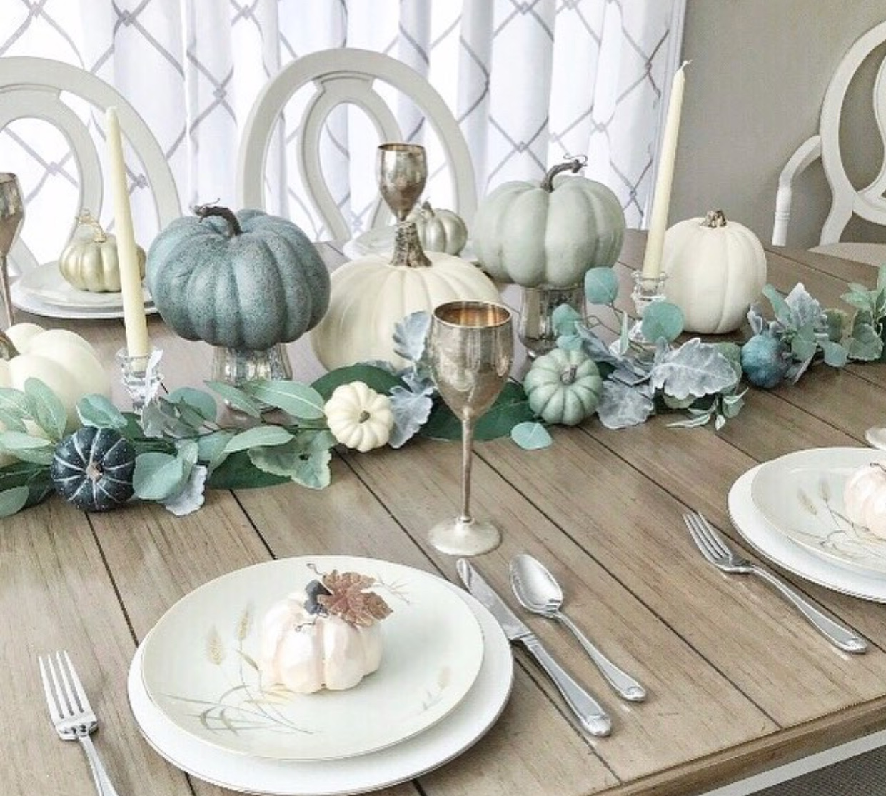 Beautiful fall tablescape in soft muted tones