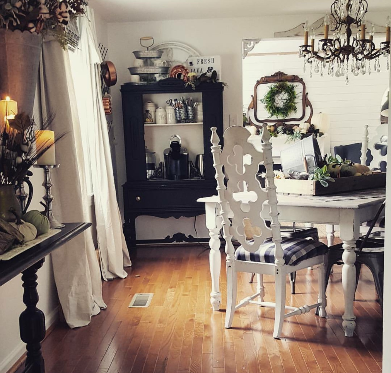 Gorgeous salvaged Antique mirror salvaged mantel with beautiful fall mantel decor pumpkins