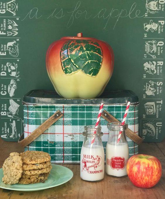 adorable back to school vignette vintage plaid metal picnic basket chalkboard vintage milk bottles
