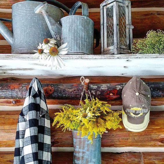 Beautiful country farmhouse style galvanzied watering cans buffalo plaid log cabin mad for plaid #madforplaiddecor buffalo checks mudroom