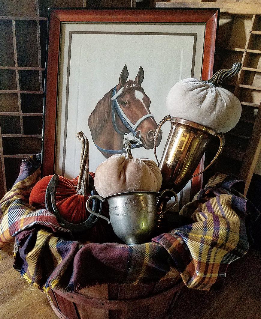 gorgeous vintage vignette secretariat horse picture plaid blanket trophies and velvet pumpkins fall Kentucky printers trays