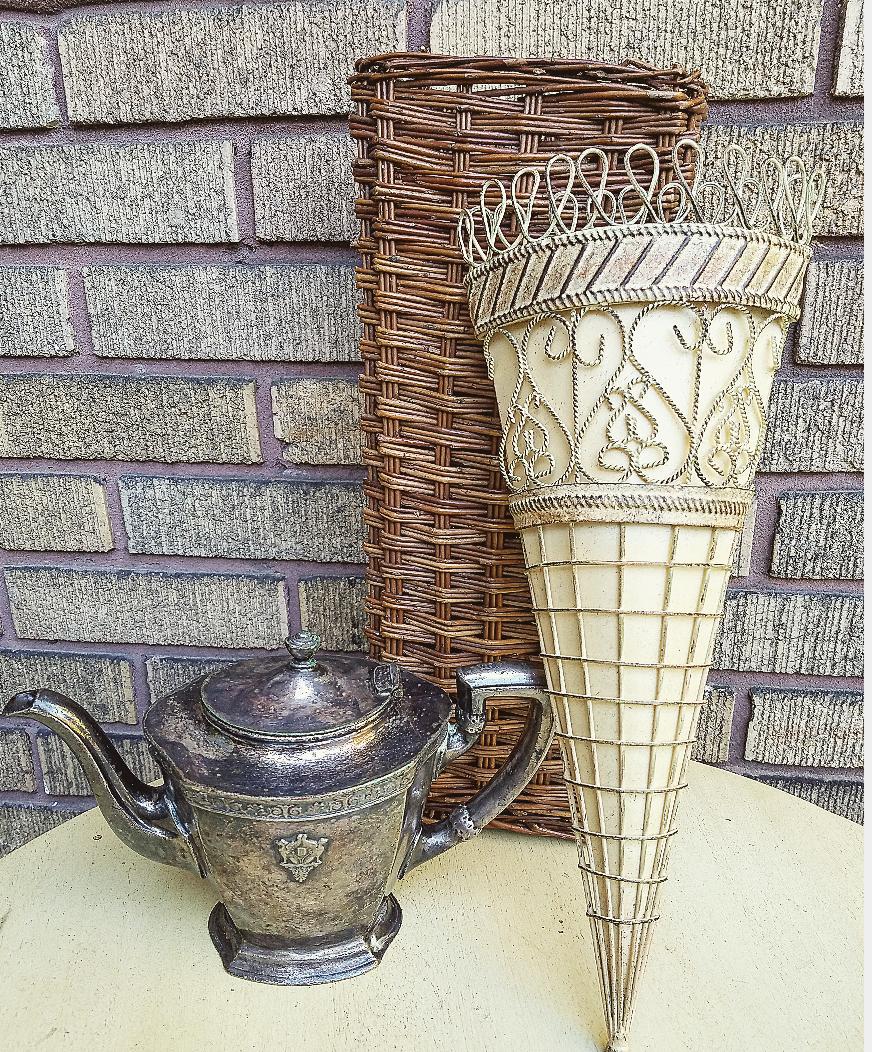 yard sale treasures long door basket flower baskets shabby chic junkin finds