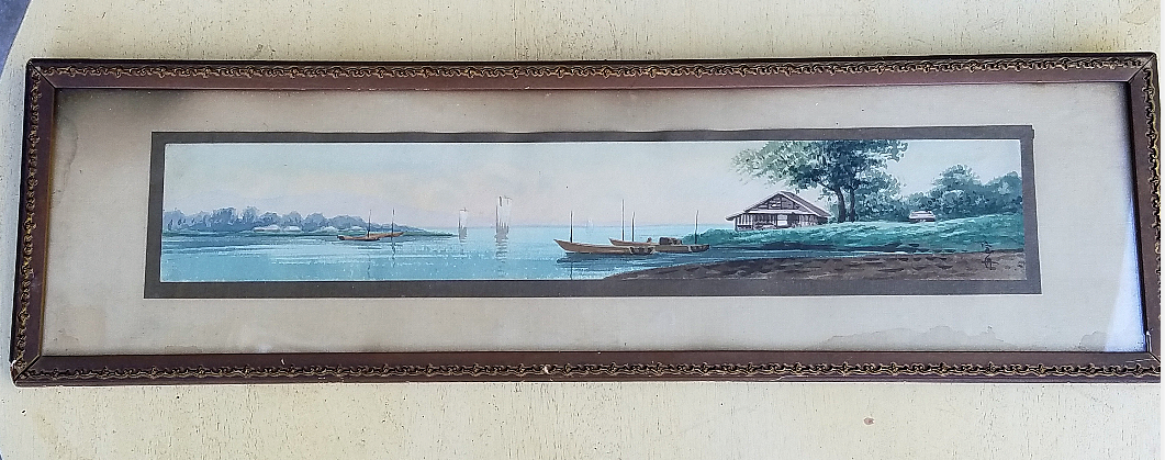 antique water color painting water scene sailboats nautical painting vintage frames vintage decor found decor