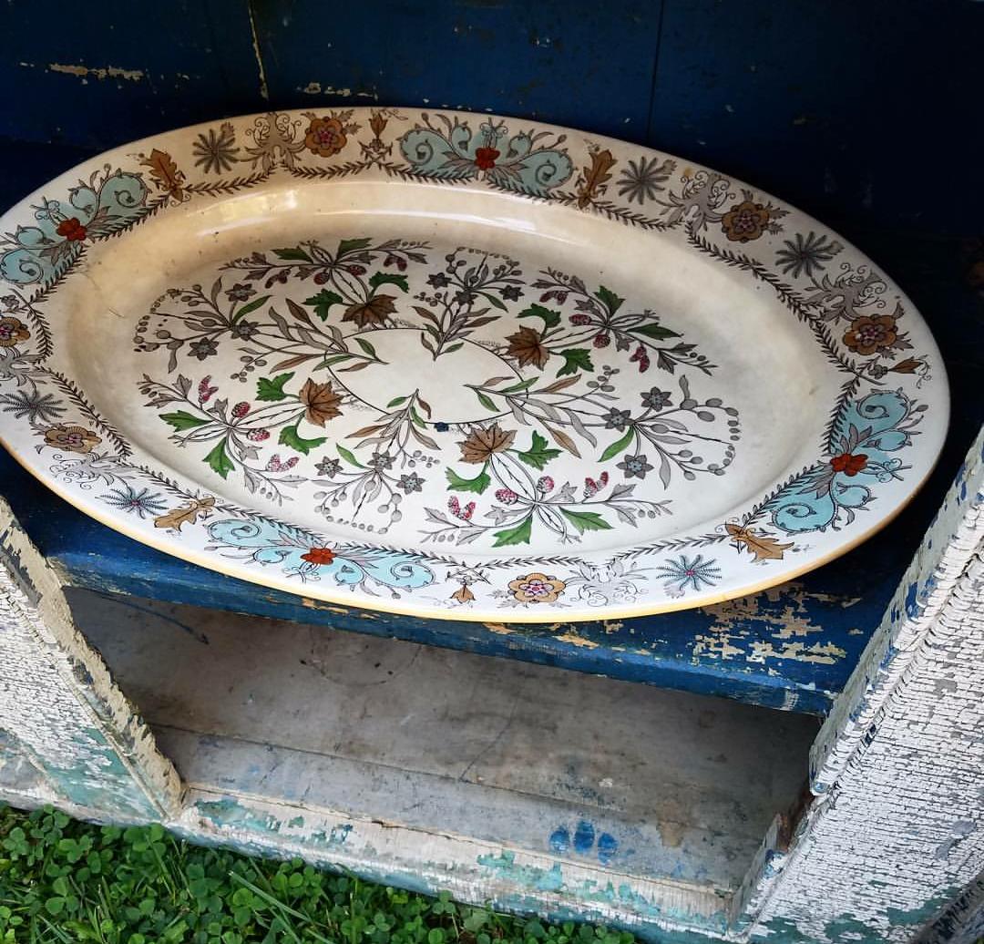 Gorgeous Ironstone Transferware Platter 1890's Country Living Fair 2017