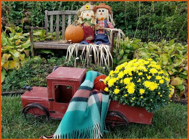 Adorable fall garden display