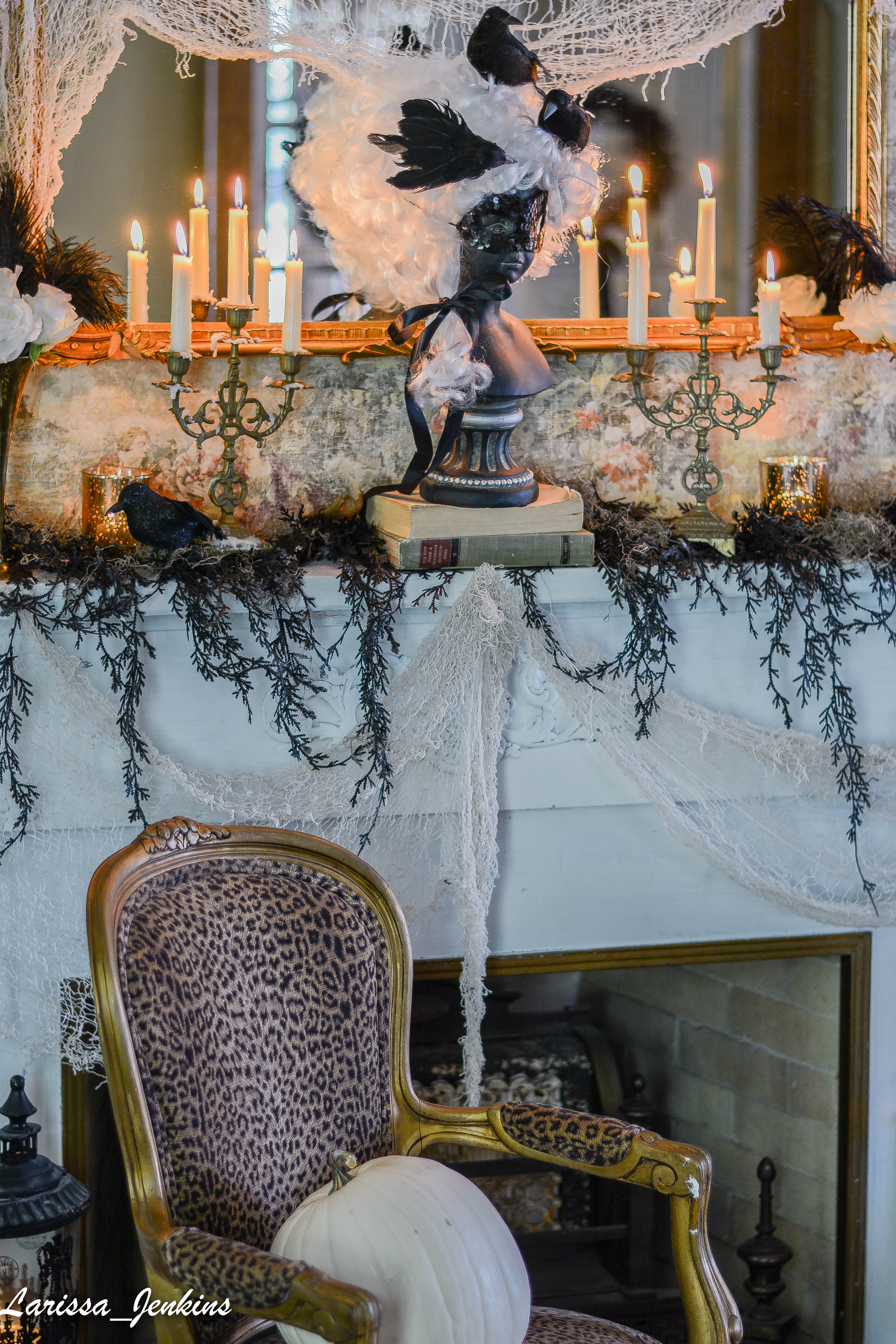 Gorgeous Halloween Mantel With Candleabras