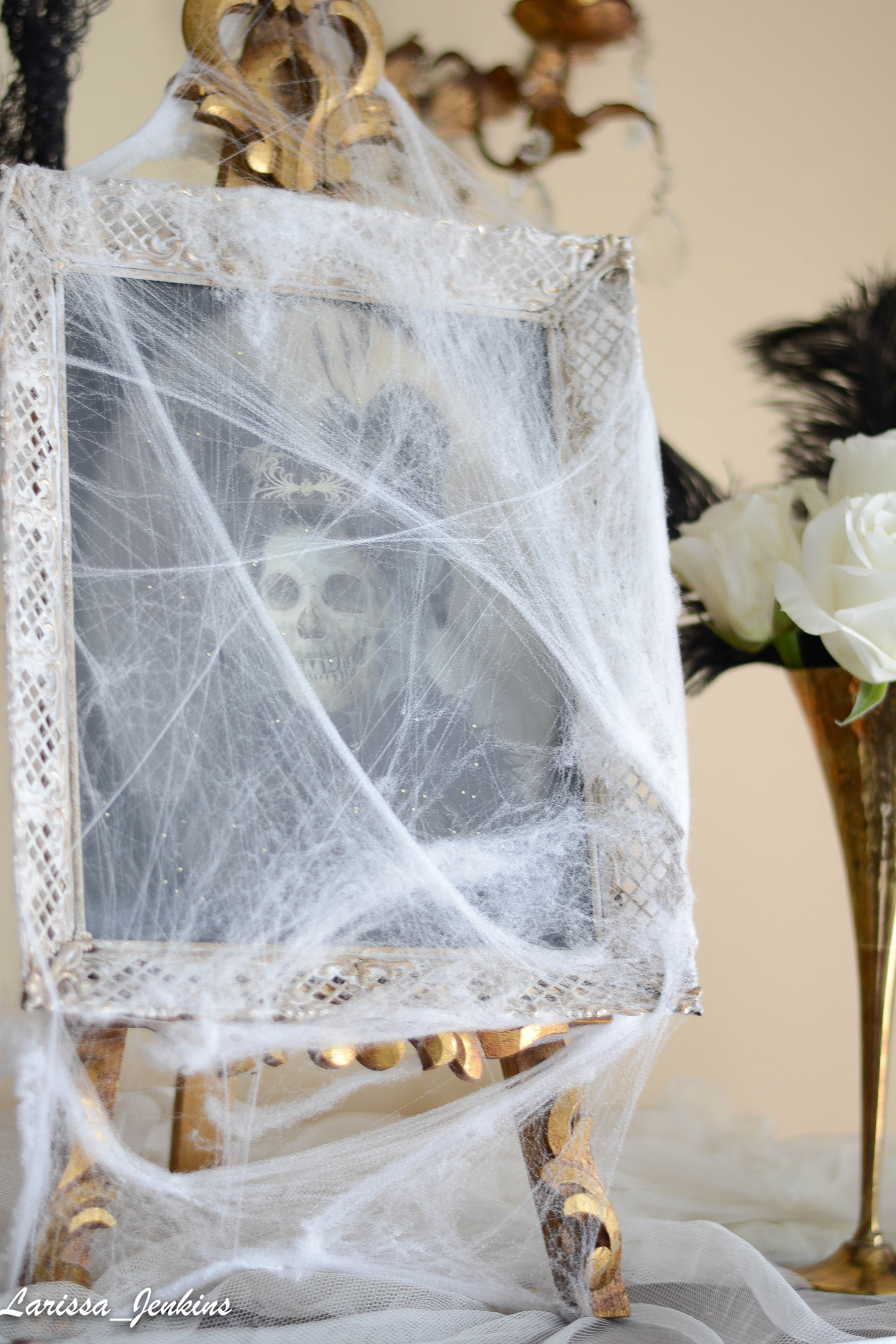 Decorating with Spider webs and creepy antique photos
