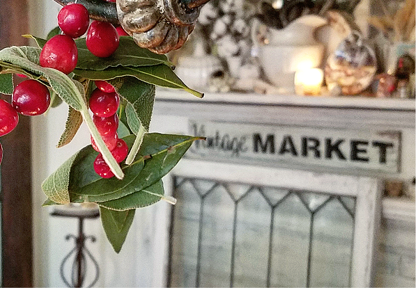 Simple and elegant handmade holiday garland cranberry, sage and bay leaf garland