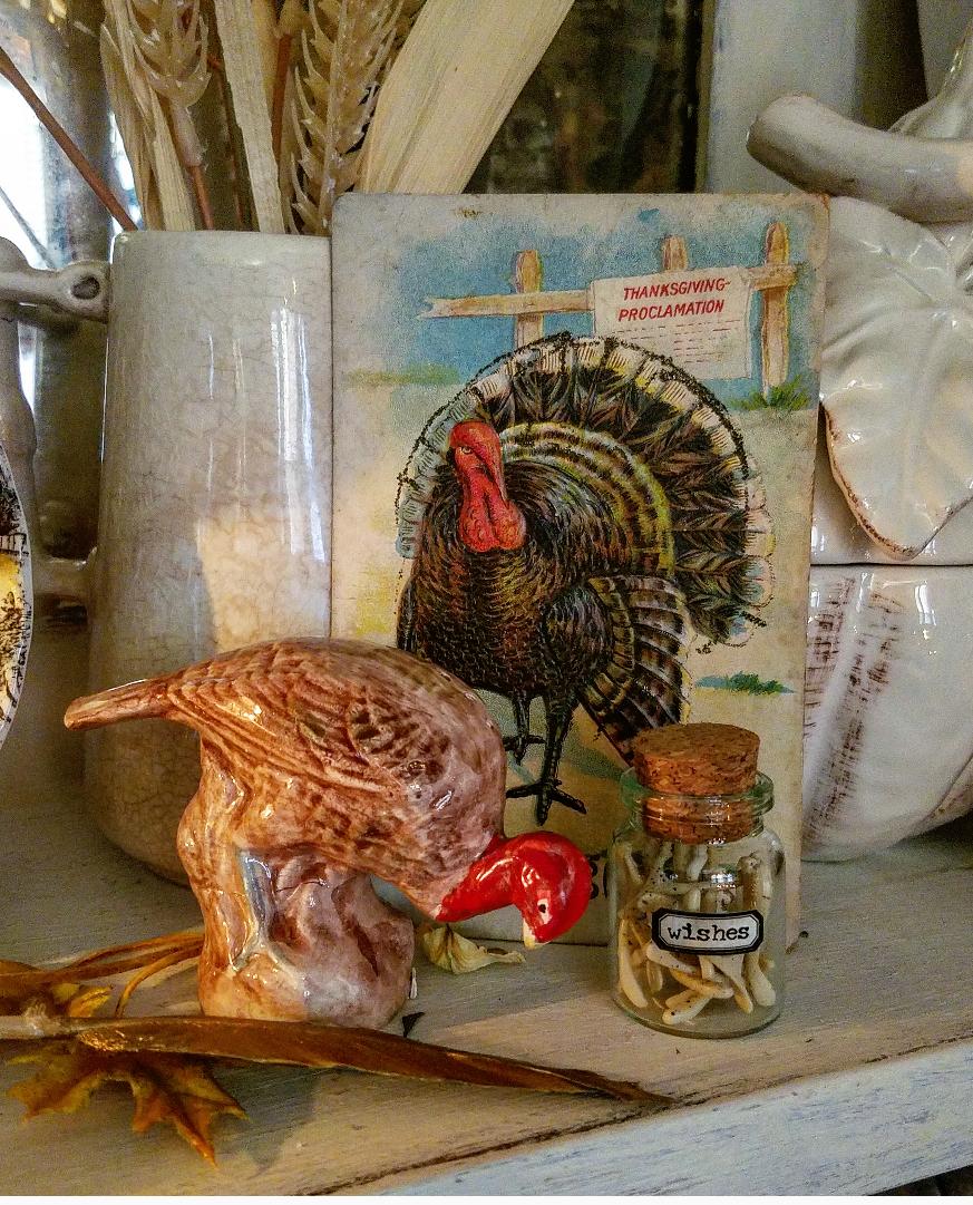 Vintage Thanksgiving postcard and turkey salt shaker whimsical holiday vignette