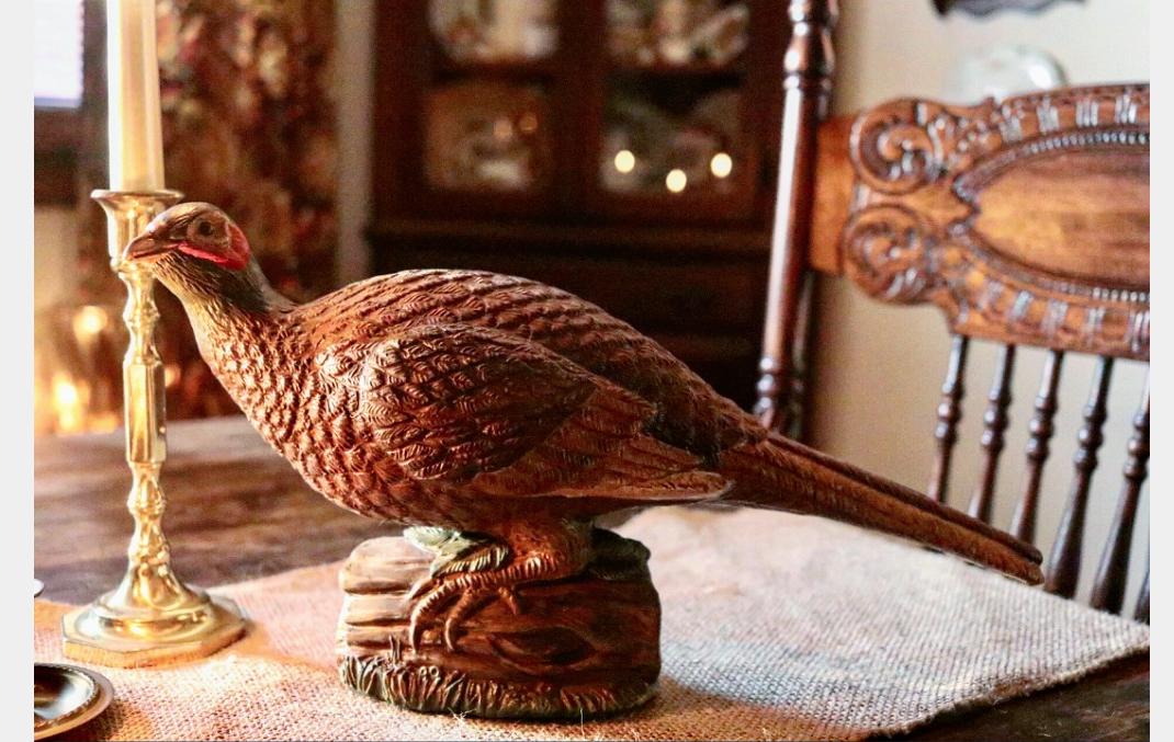 Gorgeous vintage pheasant Thanksgiving Christmas Tablescape
