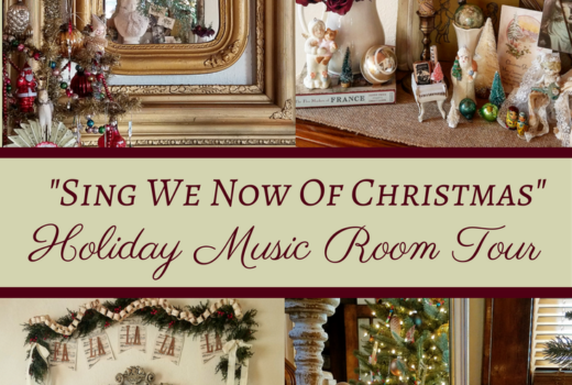 Beautiful 1920's home decorated for Christmas music room