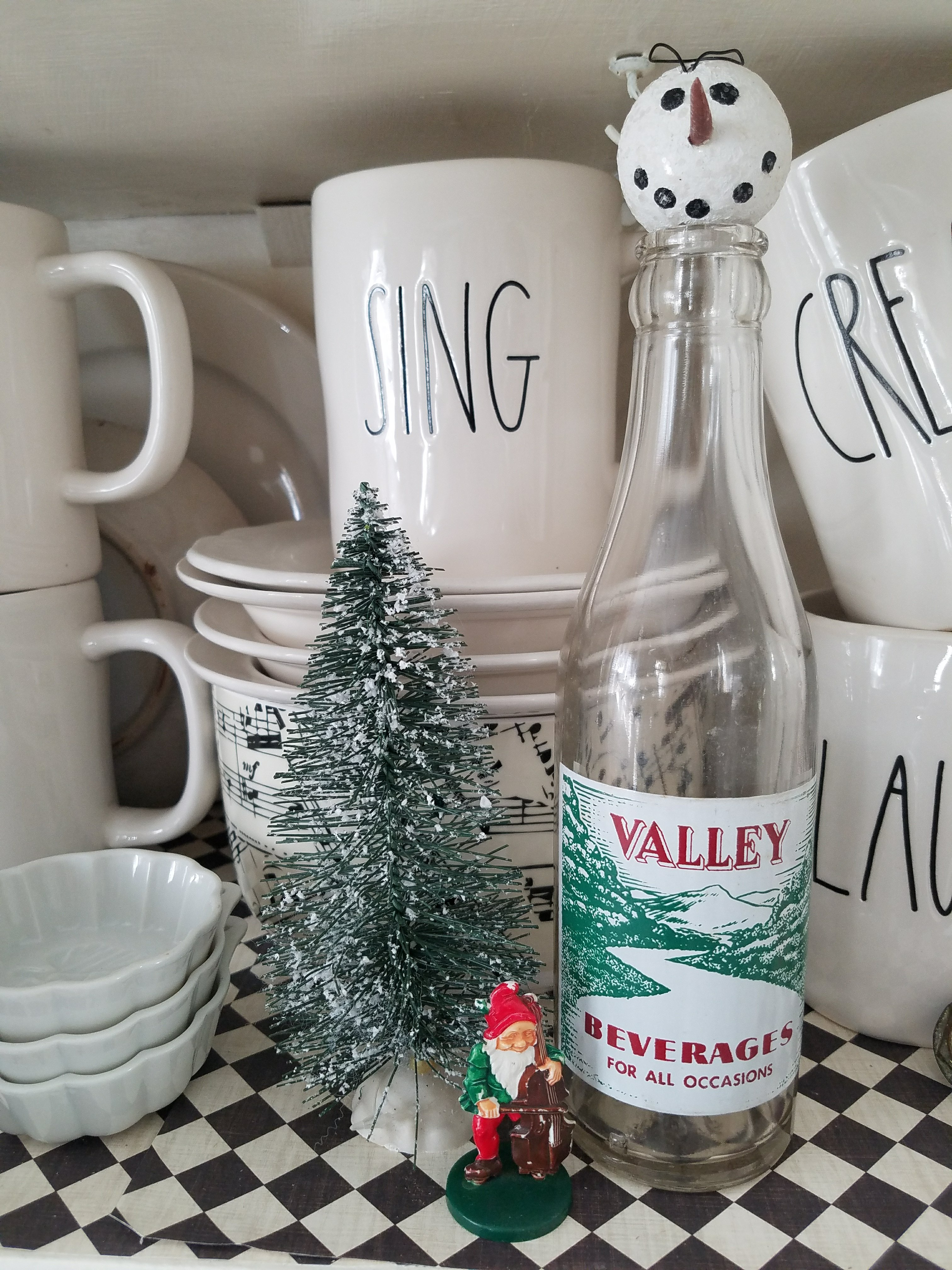 Vintage soda bottle as Christmas decor