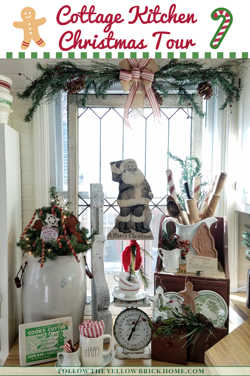 Adorable vintage and cottage farmhouse style Christmas ktichen tour
