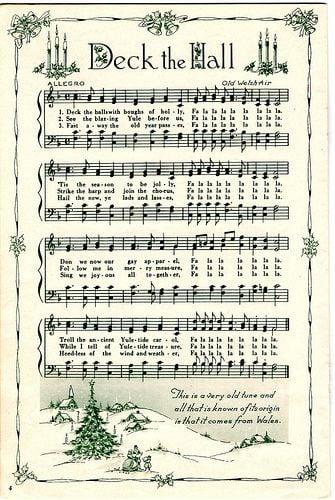 free printable deck the hall sheet music